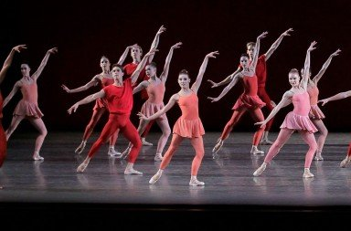 "Members of New York City Ballet  in a prior performance  of Peter Martins's ""Fearful Symmetries""  Photo by Paul Kolnik"