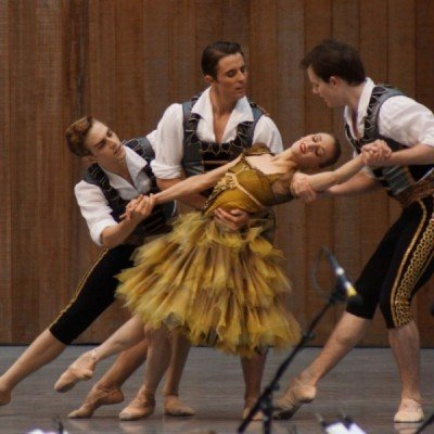 "Myles Thatcher, Simone Messmer, Luke Ingham and Shane Wuerthner in Alexei Ratmansky's ""From Foreign Lands"""