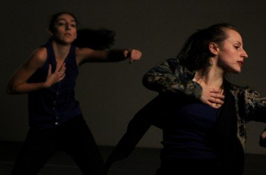 "Kristen Klein (l) and  Inclined Dance Project dancers  in a previously performed piece:  ""Stuck Together Pieces""  Photo courtesy of Inclined Dance Project"