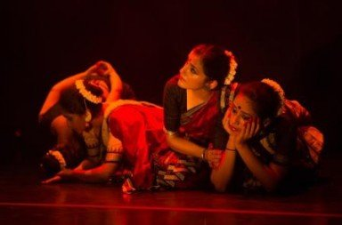 Gayathri Gopal, Raka Maitra, Aparna Nambiar, and Meera Gurumurthy in Chowk's 'You Cannot Look Away'.  Photo © Ngiap Heng