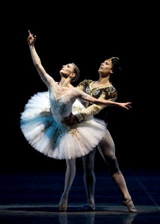 "Herman Cornejo, here with Alina Cojocaru, in a prior performance of ""La Bayadère"" Photo by Gene Schiavone"