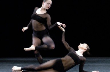 Lorena Egan (standing) and Penelope Gonazlez of RIOULT Dance NY in 'Black Diamond'.  Photo © Richard Termine