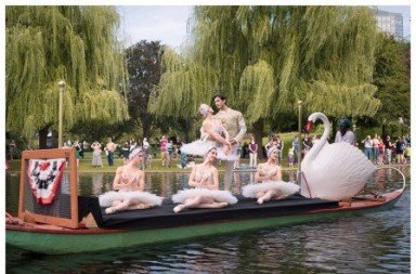 Boston Ballet dancers on Boston's Swan Boats.  Photo © Liza Voll