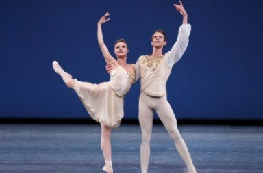"Sara Mearns and Russell Janzen  in a prior performance of  George Balanchine's ""Chaconne""   Photo by Paul Kolnik"