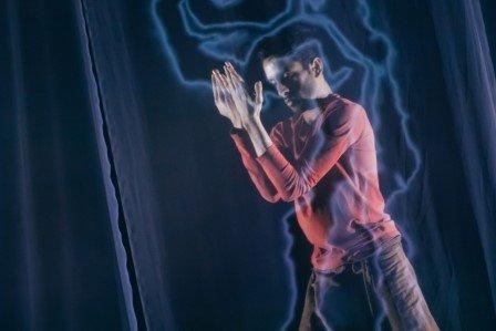 Aakash Odedra in 'Murmur'.  Photo © Sean Goldthorpe
