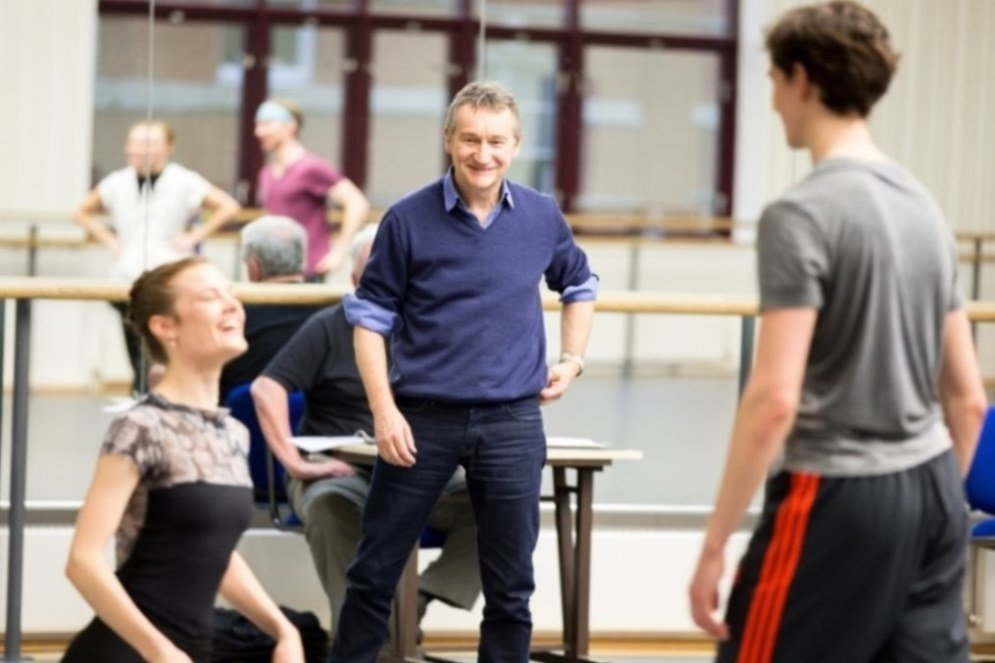 David Bintley in rehearsal with Delia Mathews and William Bracewell.  Photo © Andrew Ross