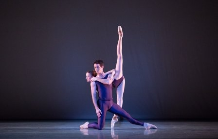 Pennsylvania Ballet's Ian Hussey and Oksana Maslova in Christopher Wheeldon's 'Polyphonia'.  Photo © Alexander Iziliaev