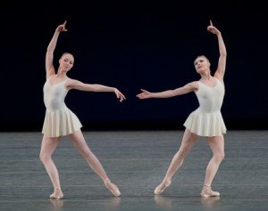"Teresa Reichlen, here with Sara Mearns, in a prior performance of George Balanchine's ""Concerto Barocco"" Photo Paul Kolnik"