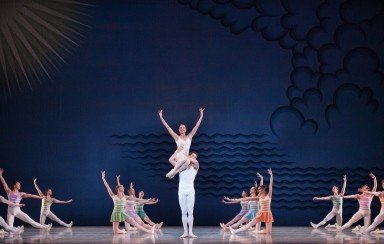 """Jerome Robbins's """"In G Major"""" here with Lauren Fadeley and James Ihde  with members of Pennsylvania Ballet   Photo by Alexander Iziliaev"""