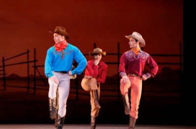 Roman Zhurbin, Misty Copeland and Craig Salstein in Rodeo.  Photo Marty Sohl
