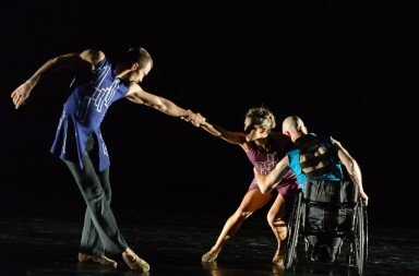 Bendan Barthel, Keon Saghari, and Dwayne Scheuneman of AXIS Dance Company in Divide