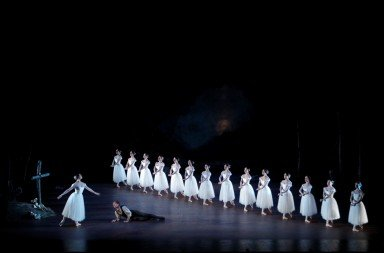 The Royal New Zealand Ballet in Giselle  (dancers here: Abigail Boyle (Myrtha) and Jacob Chown (Hilarion)  Photo Maarten Holl