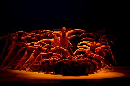 "Alvin Ailey American Dance Theater in Alvin Ailey's ""Revelations"" with cast of 50 Photo Christopher Duggan"