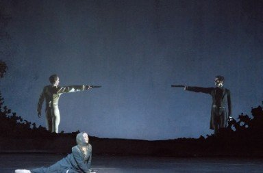 "Boston Ballet's Ashley Ellis, Patrick Yocum and Lasha Khozashvili in John Cranko's ""Onegin"" Photo by Gene Schiavone"