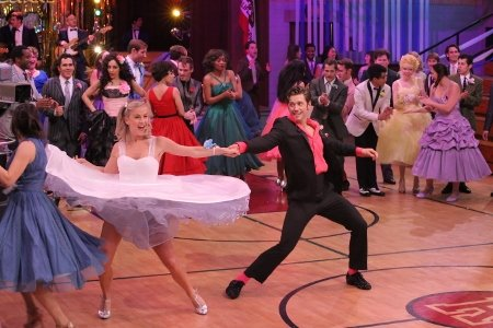 """Grease: Live"" Julianne Hough and Aaron Tveit Photo Kevin Estrada/FOX"