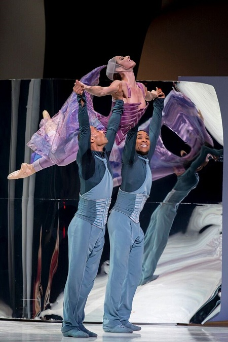 "Les Ballets de Monte-Carlo's Maude Sabourin, George Oliveira, and Alexis Oliveira in ""Cinderella"" Photo Alice Blangero"