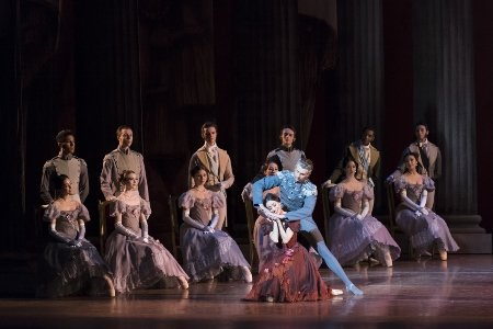 "Erica Cornejo, Matthew Slattery and Boston Ballet dancers in John Cranko's ""Onegin"" Photo Liza Voll"