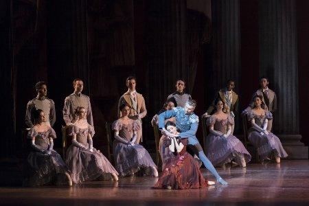 "Erica Cornejo, Matthew Slattery and Boston Ballet dancers in John Cranko's ""Onegin"" Photo Liza Voll"