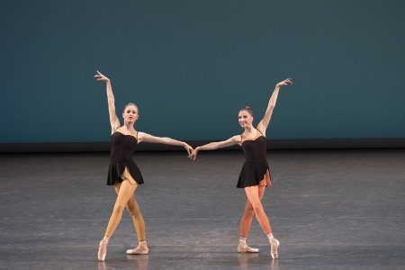 "New York City Ballet's Laine Habony and Sara Adams in ""Ash"" Photo Paul Kolnik"