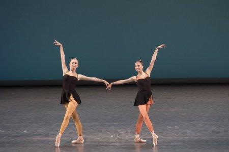 "New York City Ballet's Laine Habony and Sara Adams in ""Ash"" Photo Paul Kolnik"
