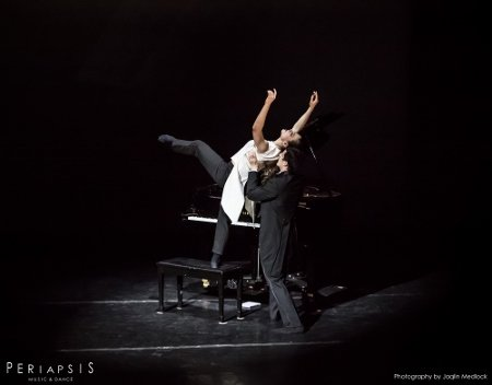 "Periapsis Music and Dance Musician Jonathan Howard Katz and Dancer Michaela Catherine McGowan in ""Reflection"" Photo Jaqlin Medlock"