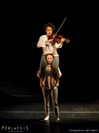 "Periapsis Music and Dance Musician Celia Hatton and Dancer Megan Jones in ""Twine"" Photo Jaqlin Medlock"