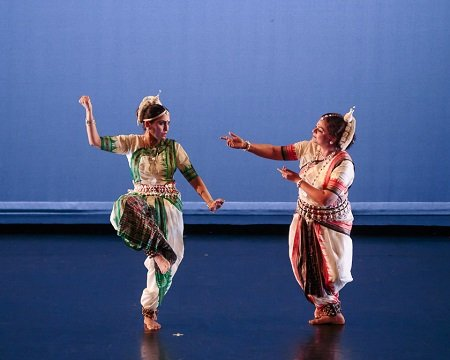 "Juhi Pant and Mala Desai of Mala's School of Odissi Dance in ""Sanjeevani"" Photo Eric Bandiero"
