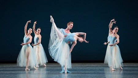 "Miami City Ballet Simone Messmer, Rainer Krenstetter and MCB dancers in George Balanchine's ""Serenade"" Photo Sasha Iziliaev"