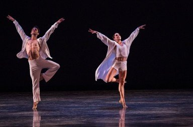 "Miami City Ballet Leigh-Ann Esty and Michael Sean Breeden in Twyla Tharp's ""Sweet Fields"" Photo Daniel Azoulay"