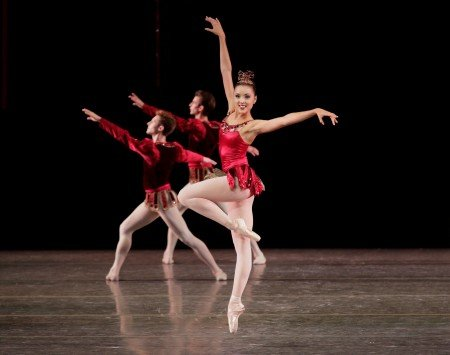 "Emily Kikta and dancers of New York City Ballet in George Balanchine's ""Rubies"" photo credit: Paul Kolnik"