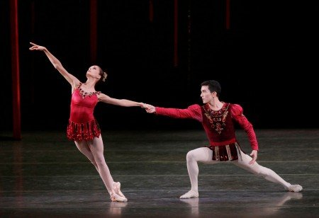 "Lauren Lovette and Anthony Huxley in George Balanchine's ""Rubies"" photo credit: Paul Kolnik"