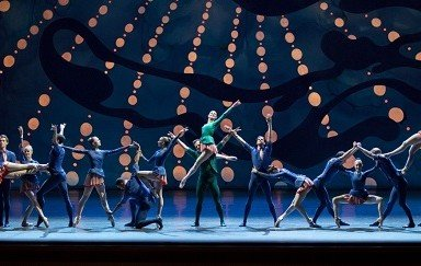 "Tiler Peck, Robert Fairchild, and New York City Ballet dancers in Christopher Wheeldon's ""American Rhapsody"" Photo Paul Kolnik"