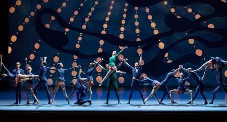 """Tiler Peck, Robert Fairchild, and New York City Ballet dancers in Christopher Wheeldon's """"American Rhapsody"""" Photo Paul Kolnik"""