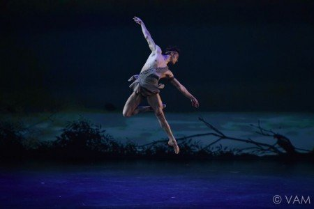 "Daniel Camargo of the Stuttgart Ballet in the Pas de Deux from ""Diana and Acteon"" Photo Siggul/VAM"