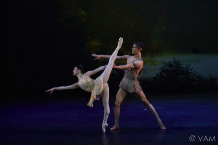 """Sarah Lane of American Ballet Theatre and Daniel Camargo of the Stuttgart Ballet in the Pas de Deux from """"Diana and Acteon"""" Photo Siggul/VAM"""