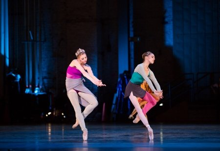 "Pennsylvania Ballet Principal Dancer Lauren Fadeley (left) and Corps de Ballet Member Ana Calderon in the premiere of Matthew Neenan's ""Archīva."" Photo: Alexander Iziliaev"