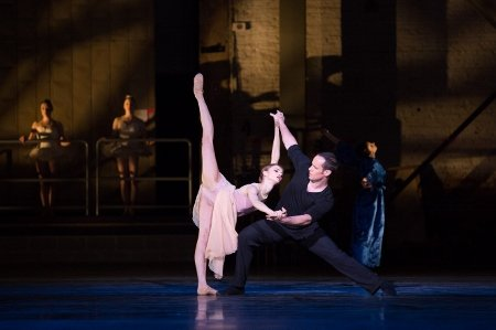 "Pennsylvania Ballet Principal Dancer Francis Veyette and Soloist Oksana Maslova in the premiere of Matthew Neenan's ""Archīva"" Photo Alexander Iziliaev"