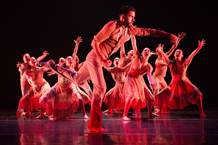 "Ballet Hispanico Christopher Hernandez and dancers in Ramon Oller's ""Bury Me Standing"" Photo Paula Lobo"