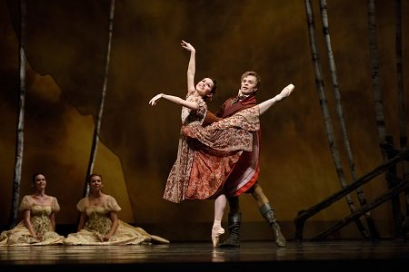 "San Francisco Ballet's Lauren Strongin and Gennadi Nedvigin in John Cranko's ""Onegin"" Photo Erik Tomasson"