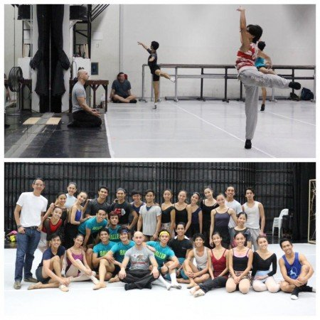 Top: George Birkadze, seated, with Ballet Philippines dancers Bottom: George Birkadze, center, with Ballet Philippines staff and dancers Photo Courtesy of George Birkadze