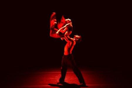 """Céline Cassone and Christian Denice of Les Ballets Jazz de Montréal in Rodrigo Pederneiras's """"Rouge"""" Photo Raphaelle Bob Garcia"""