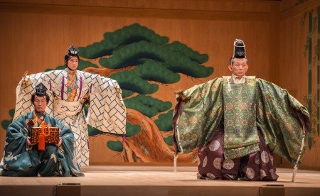 "Noritaka Yamamoto (with box), Saburota Kanze and Kiyokazu Kanze in a scene from Kanze Noh Theatre's production of ""Okina"". Photo Stephanie Berger"