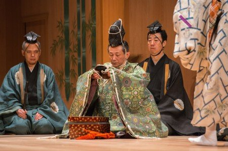 "Kiyokazu Kanze (center) in a scene from Kanze Noh Theatre's production of ""Okina"" Photo Stephanie Berger"