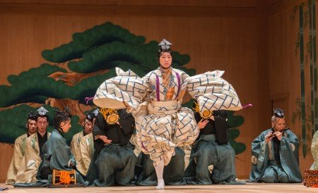"Saburota Kanze (center) in a scene from Kanze Noh Theatre's production of ""Okina"" Photo Stephanie Berger"