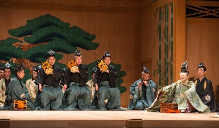 "A scene from Kanze Noh Theatre's production of ""Okina"" Photo Stephanie Berger"