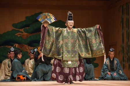"Kiyokazu Kanze in a scene from Kanze Noh Theatre's production of ""Okina"" Photo Stephanie Berger"
