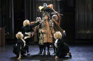 "Pascal Reneric (center) and members of the cast of the  Theatre des Bouffes du nord production of Moliere's  ""Le Bourgeois Gentilhomme"" directed by Denis Podalydes       Photo Pascal Victor/ArtComArt"