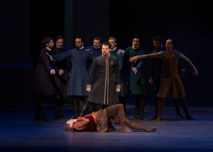 "Piotr Stanczyk, Harrison James and Artists of The National Ballet of Canada in Christopher Wheeldon's ""The Winter's Tale"" Photo Rosalie O'Connor"