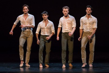 "Friedemann Vogel, Joaquin de Luz, Denis Matvienko, and Marcelo Gomes in Marcelo Gomes's ""Tristesse"" Photo Michael Khoury"