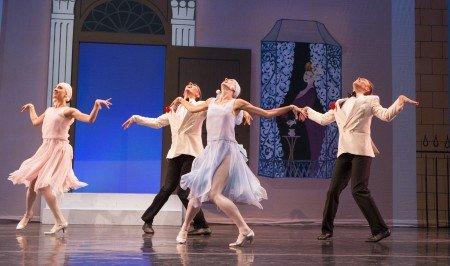 """Sarasota Ballet's Sareen Tchekmedyian, Jacob Hughes, Kristianne Kleine, and Jamie Carter in Sir Frederick Ashton's """"Facade"""" Photo Yi-Chun Wu"""